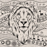Ethnic hand drawing  head of lion on African hand-drawn ethno pattern. totem / tattoo design. Use for print, posters, t-shirts. Ve. Ctor Royalty Free Stock Photography