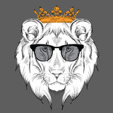 Ethnic hand drawing head of lion wearing a crown and in the glasses. totem / tattoo design. Use for print, posters, t-shirts. Vect Stock Images
