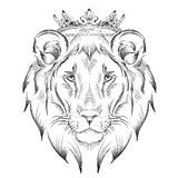 Ethnic hand drawing  head of lion wearing a crown. totem / tattoo design. Use for print, posters, t-shirts. Vector illustration Royalty Free Stock Photo