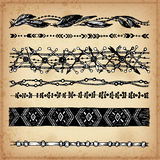 Ethnic hand drawn vector line border set and hipster scribble design element. Ink Stock Image