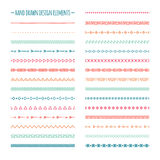 Ethnic hand drawn vector line border set and Royalty Free Stock Images