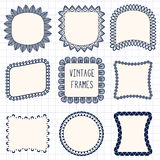 Ethnic hand drawn vector line border set and Royalty Free Stock Photos