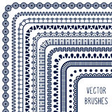 Ethnic hand drawn vector line border set and Stock Photo