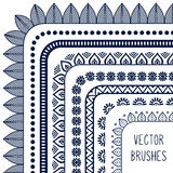 Ethnic hand drawn vector line border set and Royalty Free Stock Photography