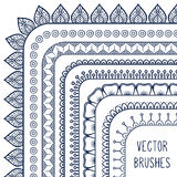 Ethnic hand drawn vector line border set and stock illustration