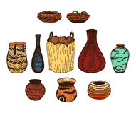 Ethnic hand drawn vector line colored set of wattled cookware. Ink Stock Photos