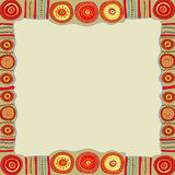 Ethnic hand painted square frame. Royalty Free Stock Image