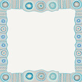 Ethnic hand painted square frame. Stock Image