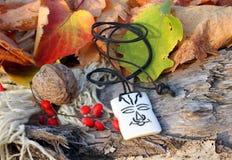 Ethnic handmade bone amulet Royalty Free Stock Images