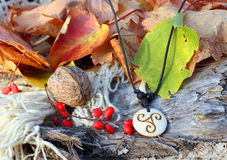 Ethnic handmade bone amulet Stock Photography