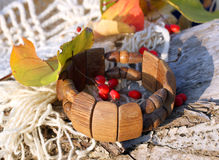Ethnic handmade wooden bracelet Stock Photos