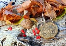Ethnic handmade wooden necklace (amulet) Stock Photography