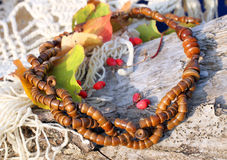 Ethnic handmade wooden necklace Royalty Free Stock Photo