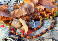 Ethnic handmade wooden necklace and bracelet Stock Photos