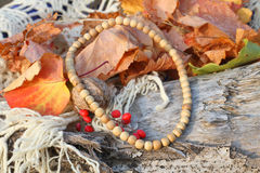 Ethnic handmade wooden necklace and bracelet Royalty Free Stock Photos