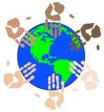 Ethnic hands on globe Stock Image