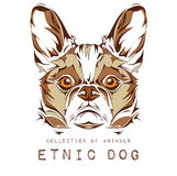 Ethnic head of dog on the white background totem / tattoo design. Use for print, posters, t-shirts. Vector illustration Stock Images