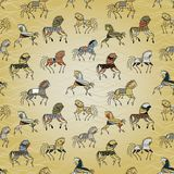 Ethnic horse galloping on a background wave Royalty Free Stock Images