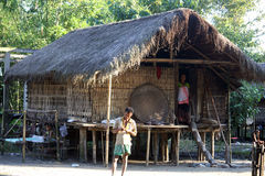 Ethnic house. Traditional house of Miching community, Assam, India royalty free stock photo