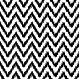 Ethnic ikat abstract geometric chevron pattern in black and white, vector. Background Royalty Free Stock Images