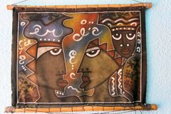 Ethnic image on a rough cloth. Royalty Free Stock Photo