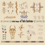 Ethnic images of Native Americans. Pictures of American Indians on their clothes, shoes and wigwams royalty free illustration