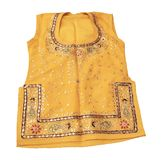 Ethnic Indian Attire. A traditional Rajasthan woman's top called Choli. It is made in cotton mixed with silk, decorated with ethnic motifs and leaves made of Stock Images