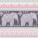 Ethnic Indian bohemian style elephant seamless pattern Stock Photography