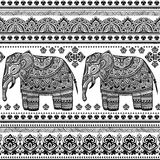 Ethnic Indian bohemian style elephant seamless pattern Royalty Free Stock Images