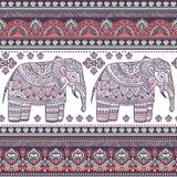 Ethnic Indian bohemian style elephant seamless pattern Royalty Free Stock Photo