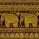 Ethnic Indian bohemian style elephant seamless pattern Stock Image