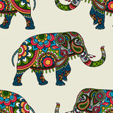 Ethnic indian elephant colored seamless background. Vector illustration Royalty Free Stock Photography