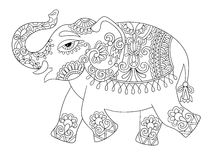 Ethnic indian elephant line original drawing, adults coloring bo. Ok page, black and white vector illustration Royalty Free Stock Photo