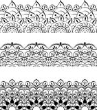 Ethnic indian line art border. In mehendi ethnic style on a white background Royalty Free Stock Photography