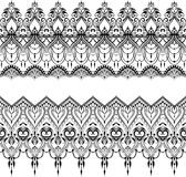 Ethnic indian line art border. In mehendi ethnic style on a white background Royalty Free Stock Images