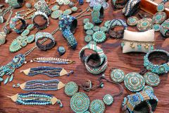 Ethnic jewelry souvenirs on sale royalty free stock images