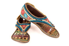 Ethnic ladies footwear. Gorgeous stylish women footwear of ethnic design from India stock photography
