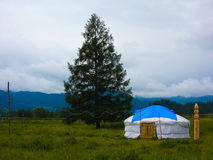Ethnic landscape. Russian ethnic landscape with tent Royalty Free Stock Images