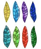 Ethnic leafs or feathers. Vector isolated set Royalty Free Stock Photo