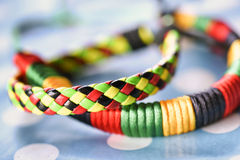 Ethnic leather colorful bracalets Royalty Free Stock Photography