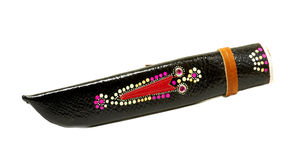 Ethnic leather cover for knife. With colorful ornaments stock images