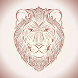 Ethnic lion. Line illustration. Ethnic hand drawn head of Lion. Line  illustration. Sketch for tattoo, poster, print or t-shirt Royalty Free Stock Photography