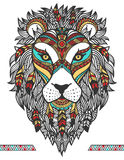 Ethnic lion. A tattoo of a Lion with an ornament. Totem. Hand Drawn Stock Photos