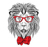 Ethnic lion wearing a tie. Fashion & Style. Hipster. Stock Images