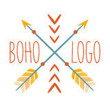 Ethnic Logo Boho Style Element, Hipster Fashion Design Template In Blue, Yellow And Red Color With Crossed Arrows Royalty Free Stock Image