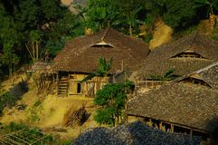 Ethnic Lolo village. In remote mountain corner, often in very steep slopes, walk for miles through mountain paths, we can prove a few houses grouped Lolo. They Royalty Free Stock Photography