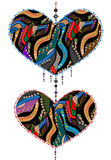 Ethnic love. Symbol of love from various elements in ethnic style Stock Image