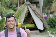 Ethnic man enjoying ecotourism in South America.  royalty free stock photos