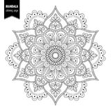 Ethnic mandala bw. Monochrome ethnic mandala design. Anti-stress coloring page for adults. Hand drawn vector illustration royalty free illustration