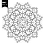 Ethnic mandala bw. Monochrome ethnic mandala design. Anti-stress coloring page for adults. Hand drawn vector illustration stock illustration